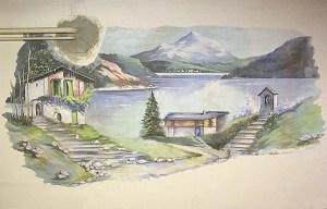 lago montano dipinto murale manicomio di rovigo