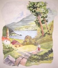 paesaggio con lago dipinto murale manicomio di rovigo