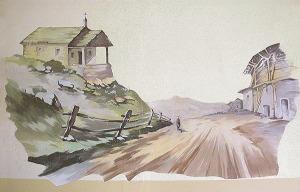 strada montana dipinto murale manicomio di rovigo
