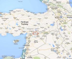 Kobane, Ayn al - Arab, nella mappa geografica