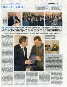 Il Procuratore Carmelo Ruberto per la giustizia Carlino Rovigo 29-3-15